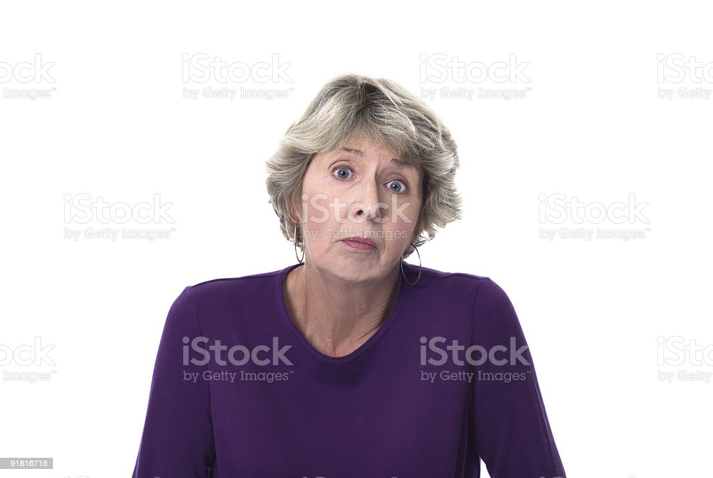 Exasperated mature woman stock photo