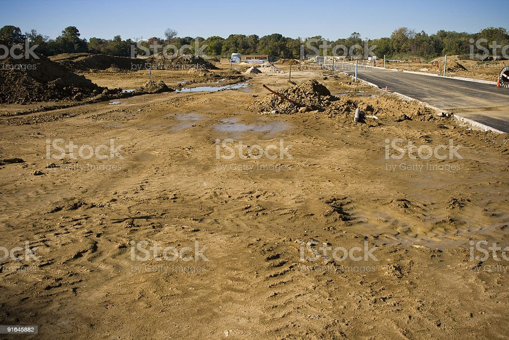 Excavated Farm Land Development Showing New Housing Construction royalty-free stock photo