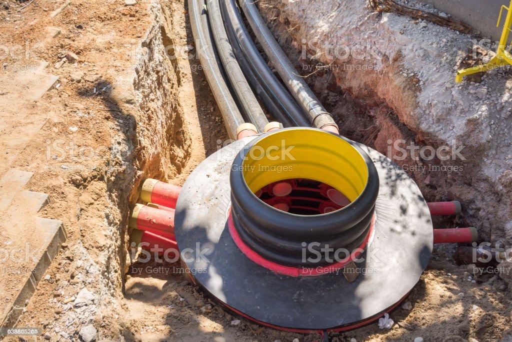 Excavation pit stock photo