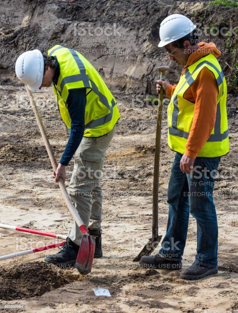 Excavation Two Man Shovel stock photo