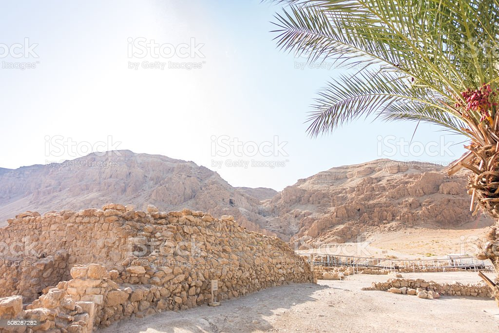 Excavations in Qumran, where Essenes hide scrolls with the Bible stock photo