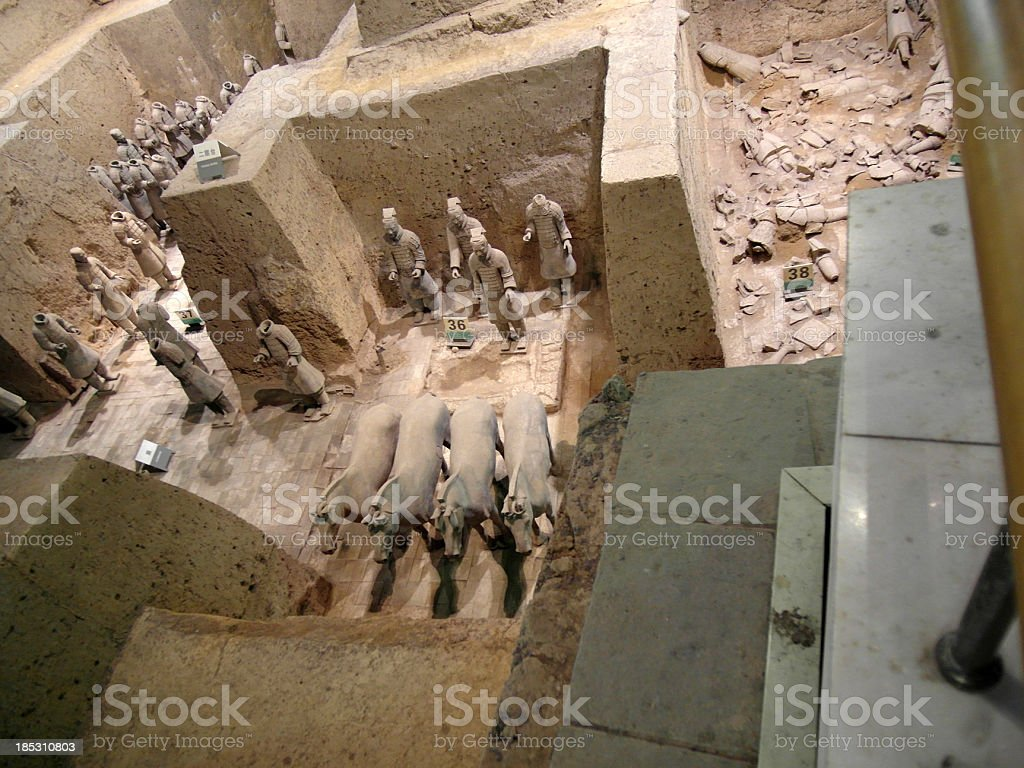 Excavations of Terracotta warriors royalty-free stock photo