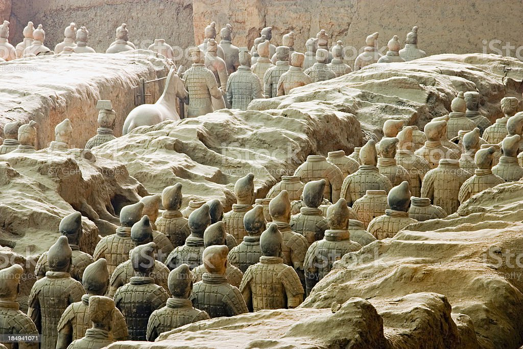 Excavaton of the Terra Cotta Warriors in Xian, China royalty-free stock photo