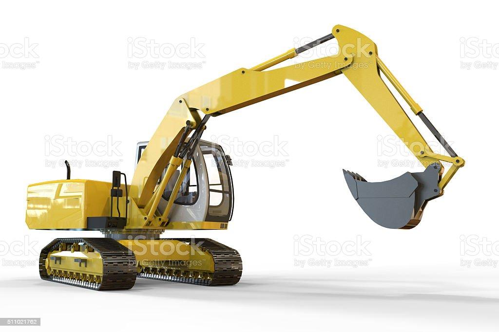 Excavator and white  Background stock photo