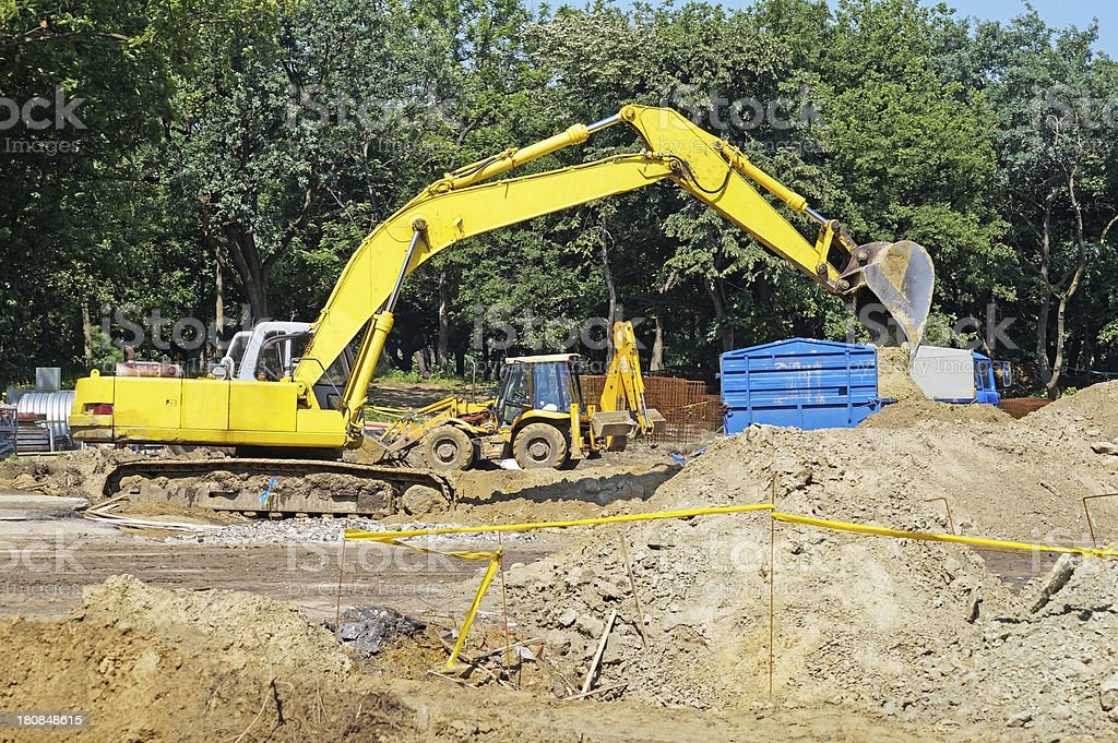 excavator at the construction site royalty-free stock photo