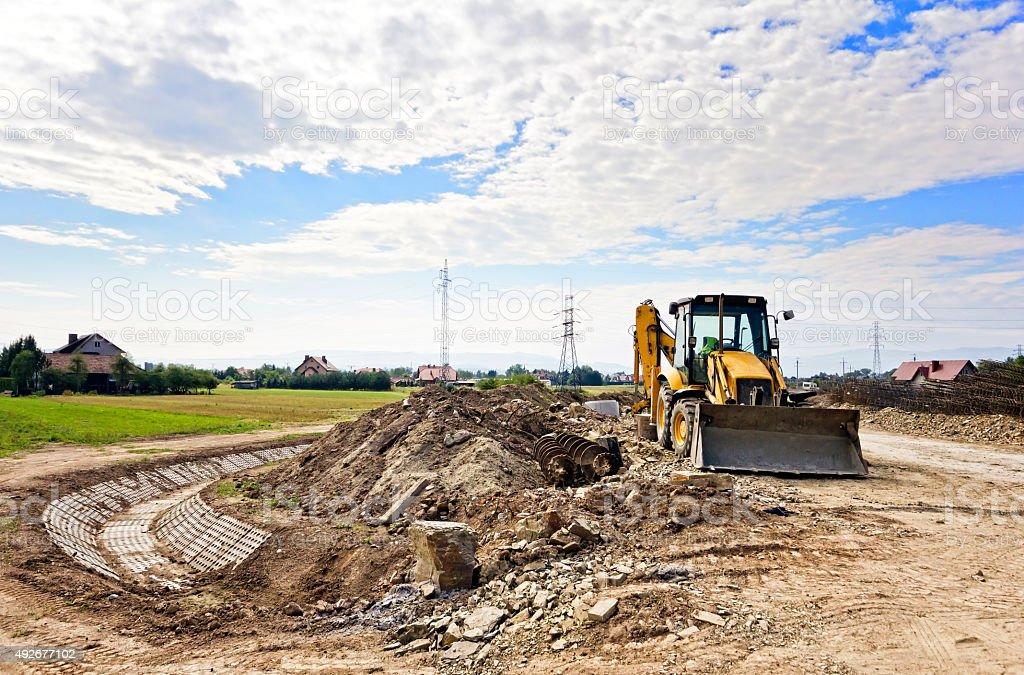 Excavator at work stock photo