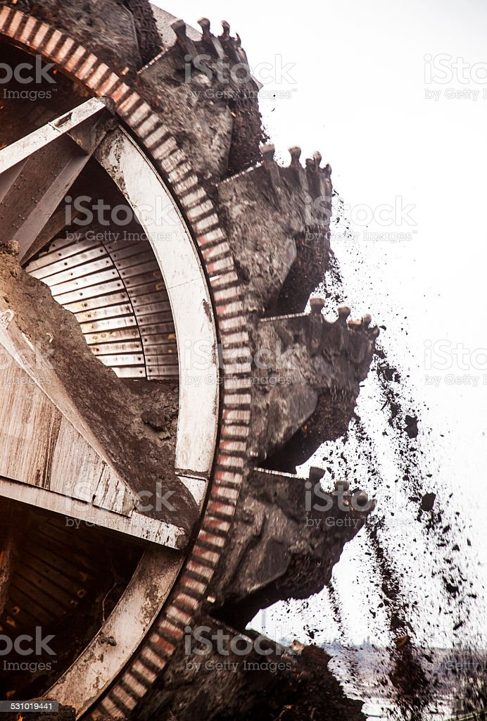 excavator for digging coal stock photo