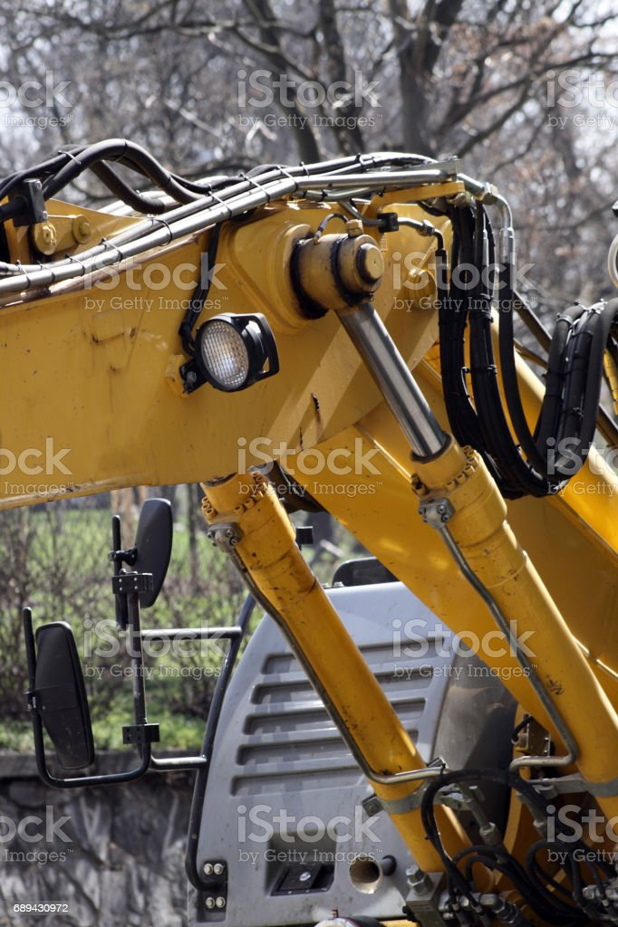 Excavator from road construction in Prague Europe stock photo