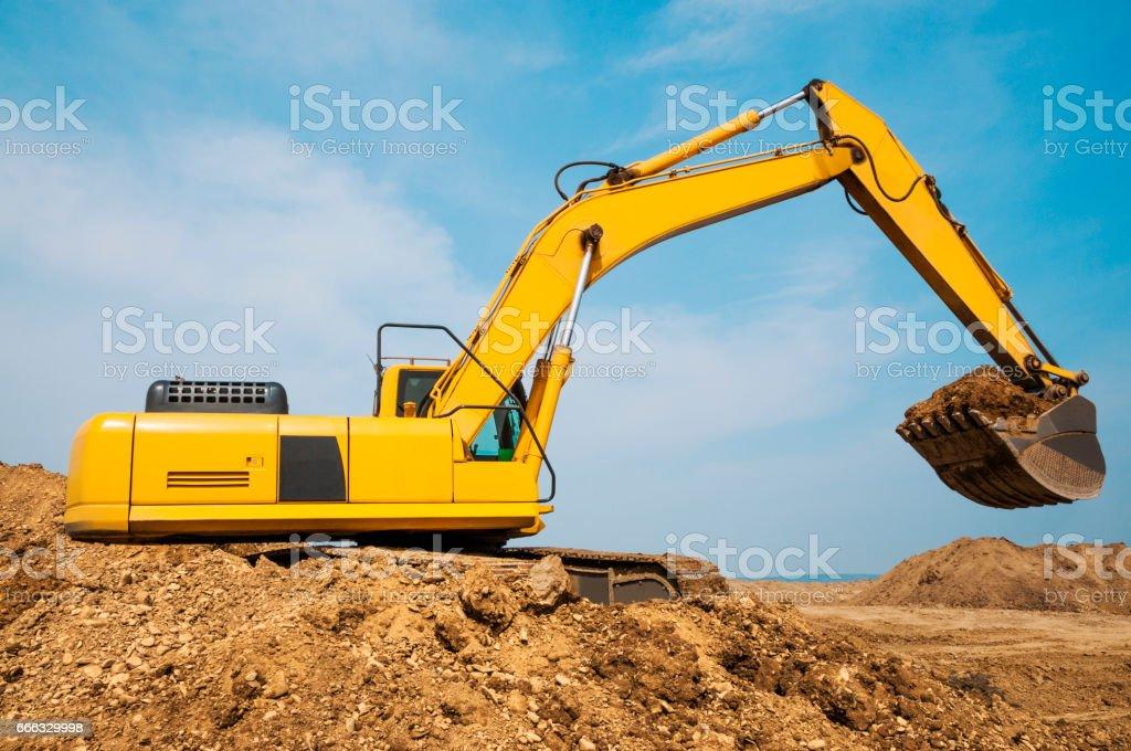 Excavator in operation stock photo