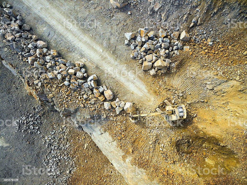 Excavator in the mine. stock photo