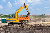 Excavator is working on construction site. Caterpillar in action