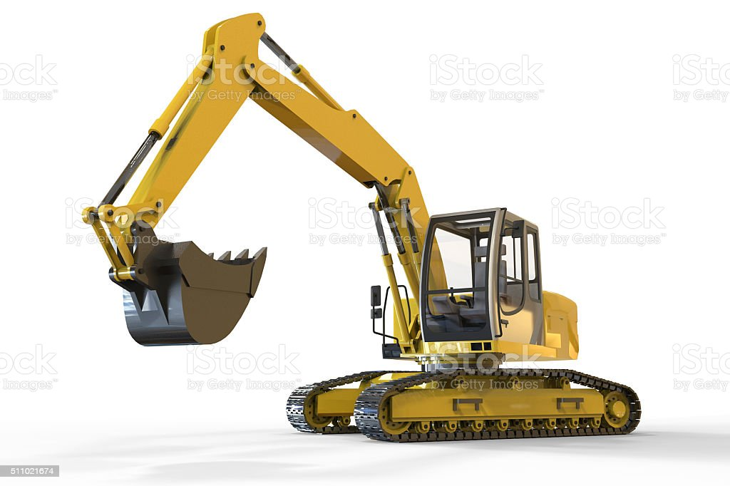 Excavator isolated and Background stock photo