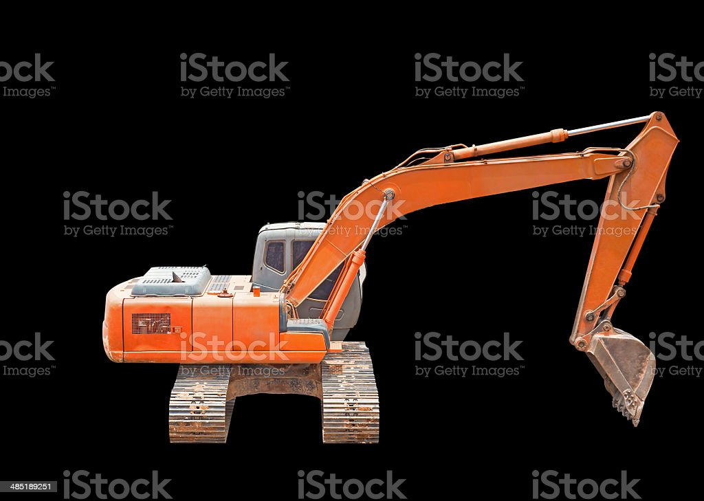 excavator loader machine isolated on black stock photo