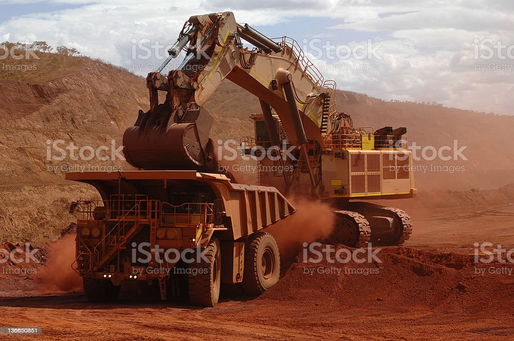 Excavator loading ore into a haul truck. stock photo