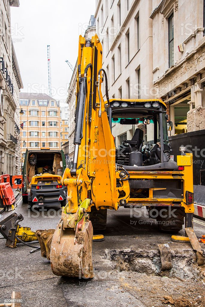 Excavator machine stock photo