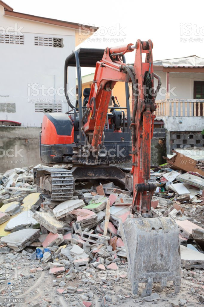 Excavator mini stock photo