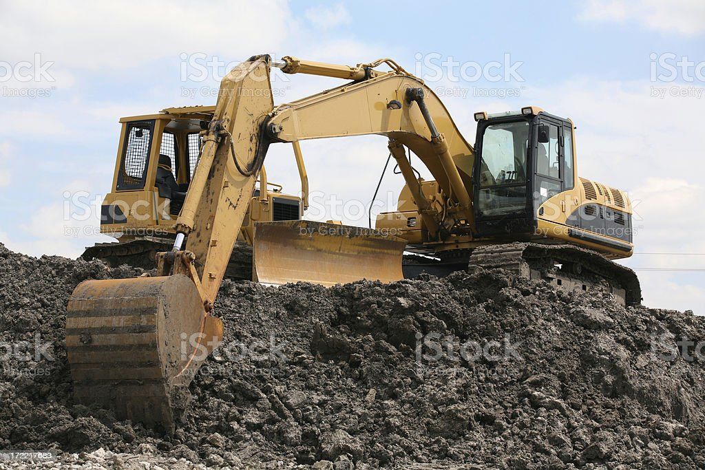 excavator on the construction site royalty-free stock photo