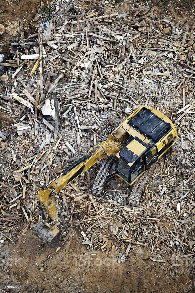Excavator or ruined building stock photo
