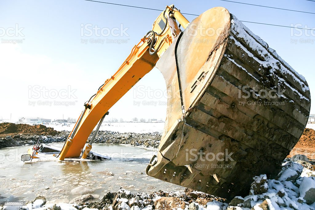 Excavator Rescue Operation stock photo