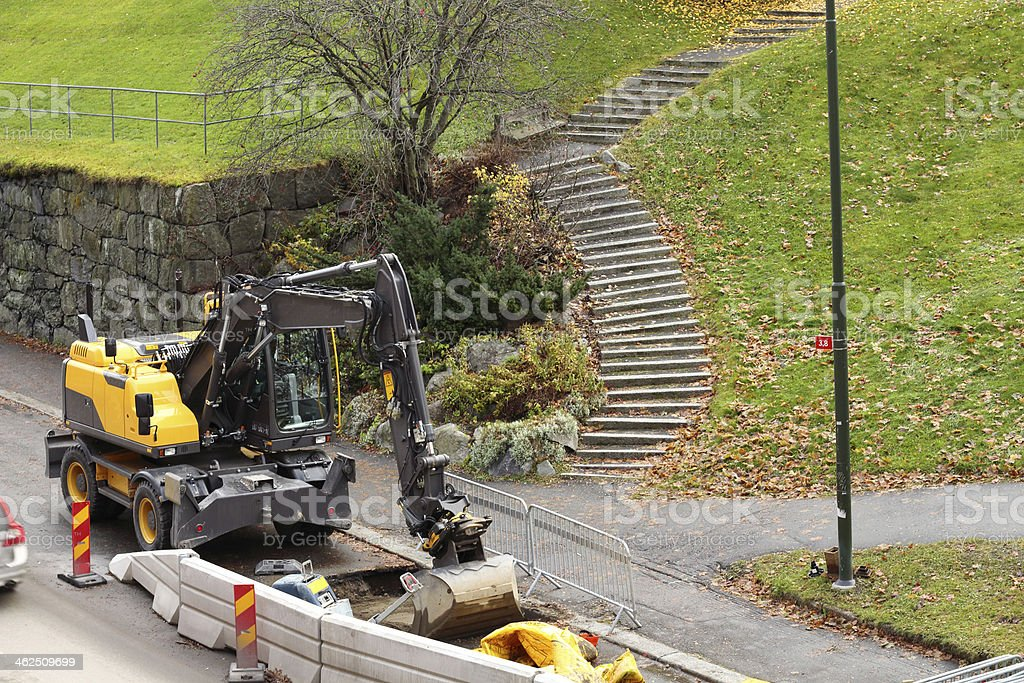 excavator waiting for its driver stock photo