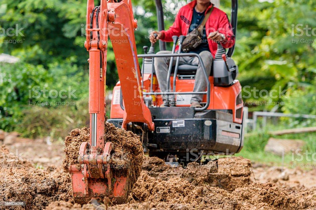 Excavators are digging small. stock photo