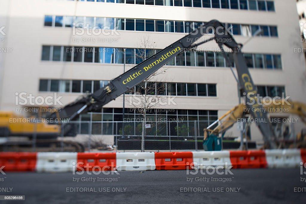 Excavators Celtic Demolition tilt-shift stock photo