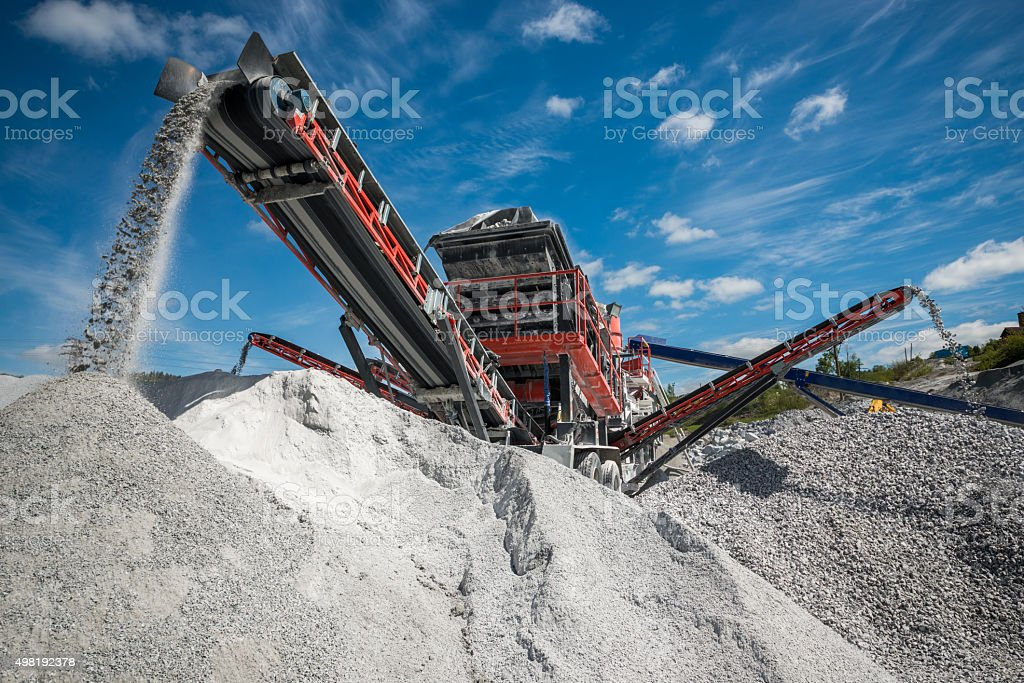 Excavators digging stock photo