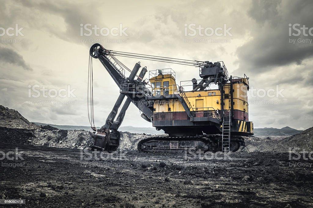 Excavators in coal mines stock photo