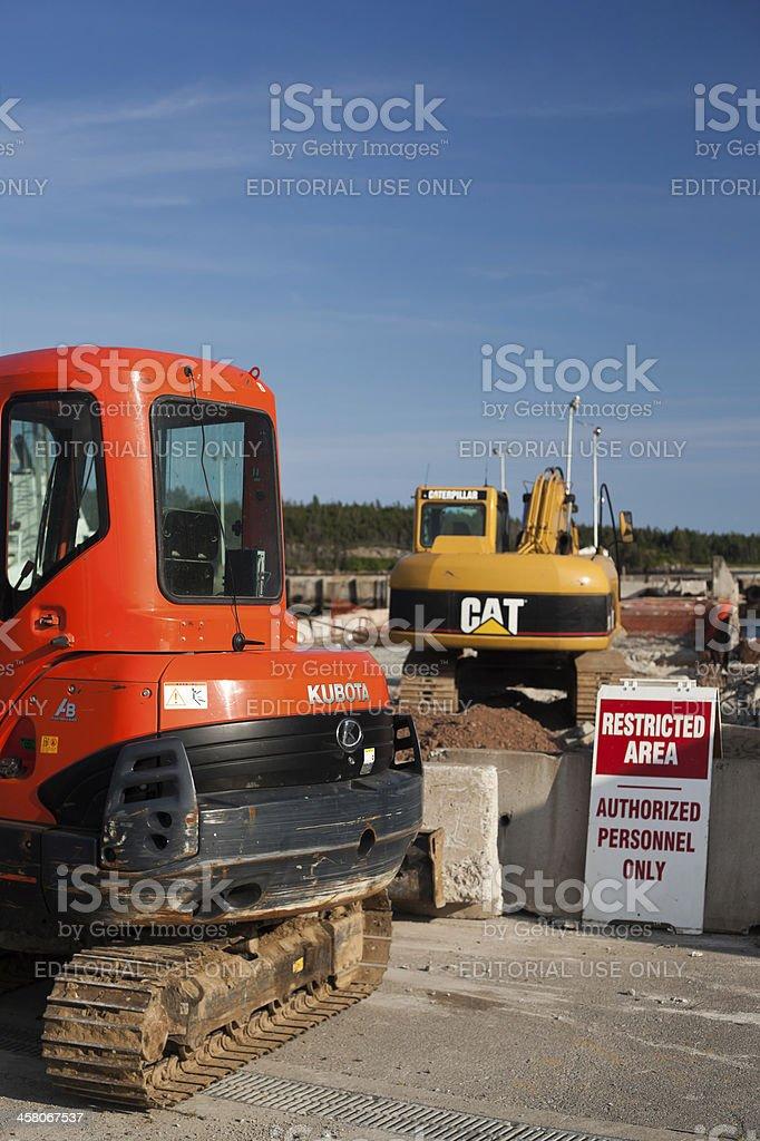 Excavators on Wharf Construction Site stock photo