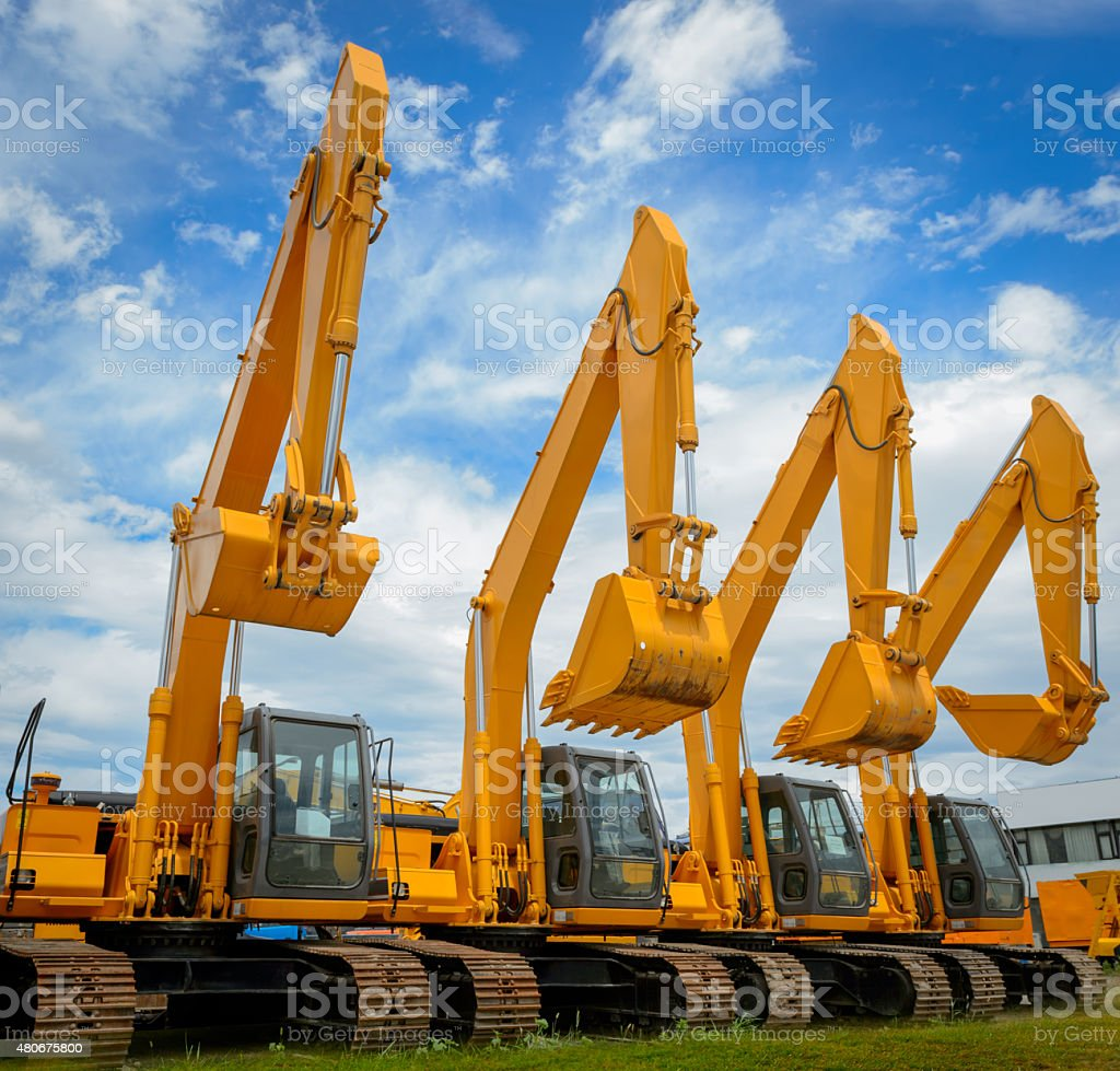 excavators stock photo