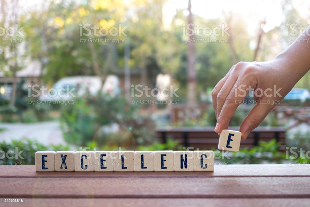 Excellence Concept with  alphabet blocks stock photo
