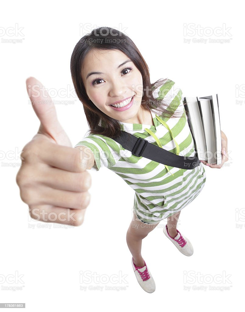 excellence - girl student thumbs up hand gesture royalty-free stock photo