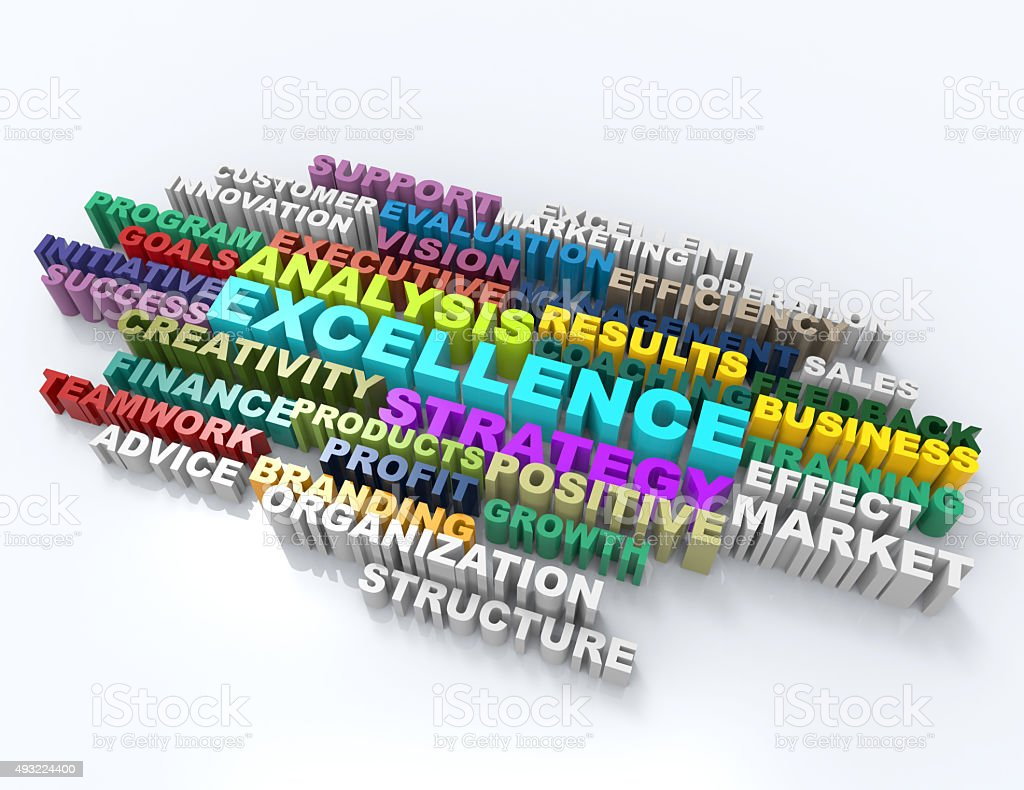 excellence,analysis,results,coaching 3d word concept stock photo