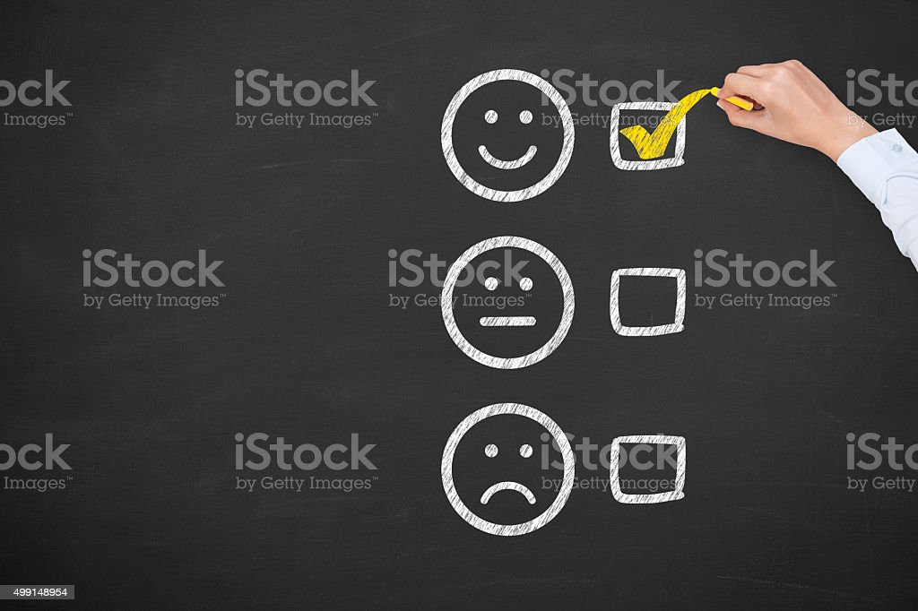 Excellent Customer Service Evaluation Form on Blackboard stock photo