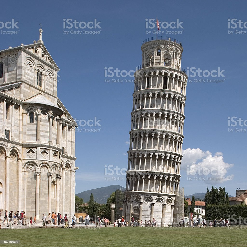 Excellent display of Leaning Tower in Pisa, Italy stock photo
