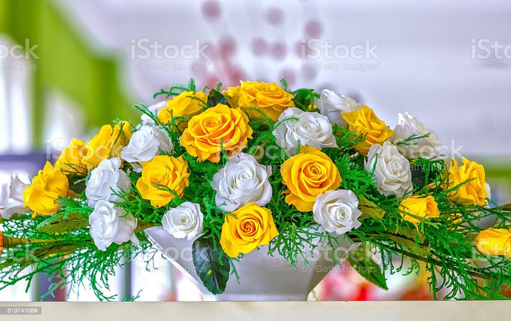 Excellent frozen flower basket on the shelf stock photo