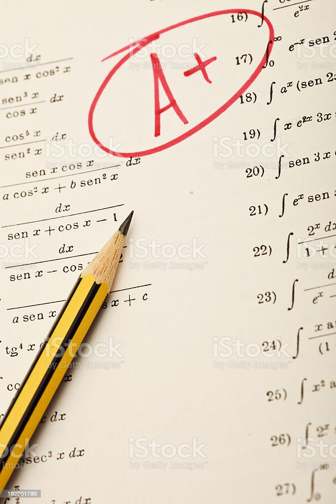 Excellent grades on exam of mathematics royalty-free stock photo