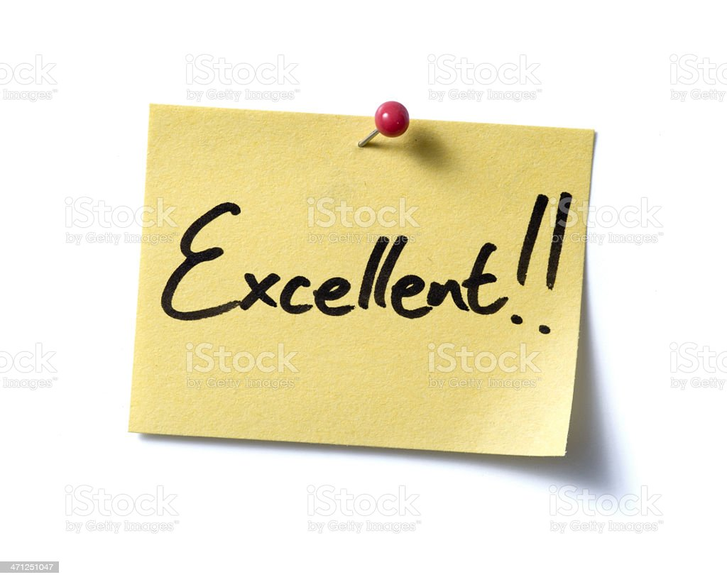 Excellent! post-it. stock photo