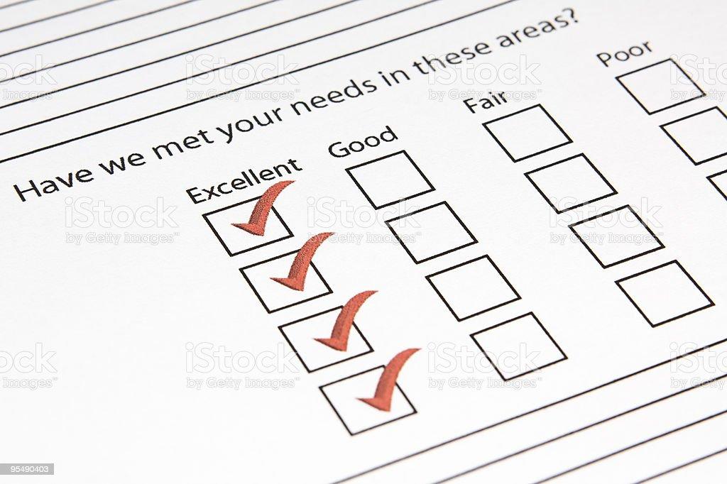 Excellent Questionnaire stock photo