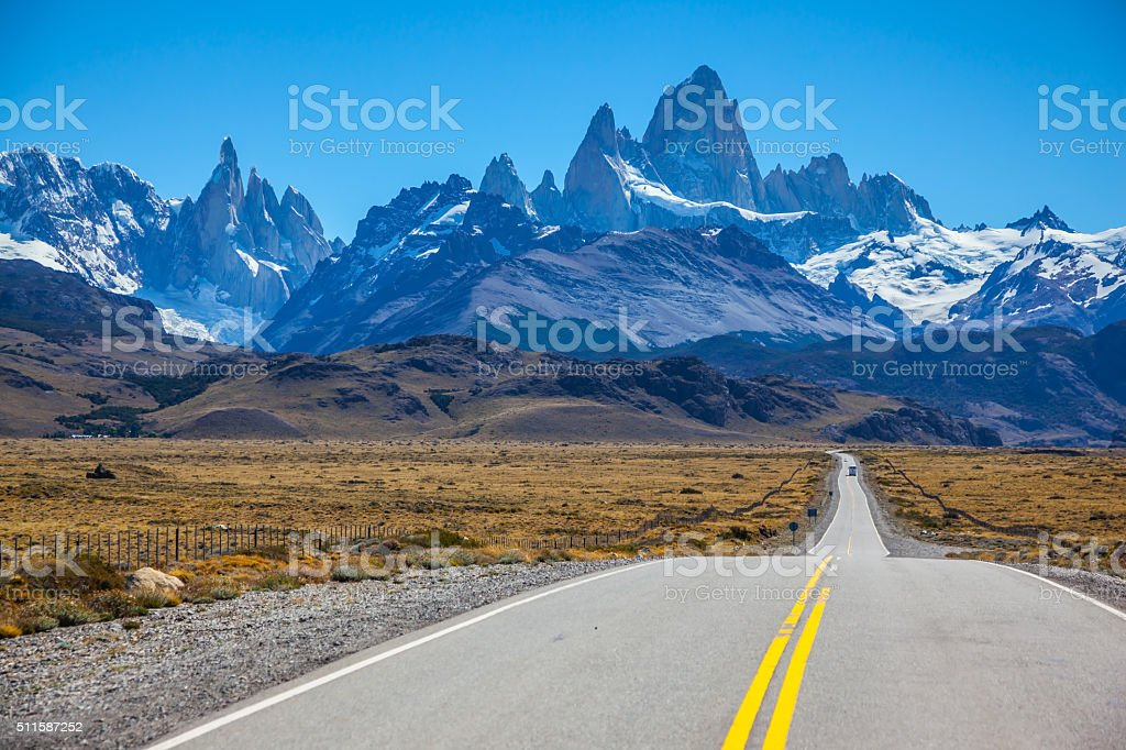Excellent road to majestic Mount Fitz Roy stock photo