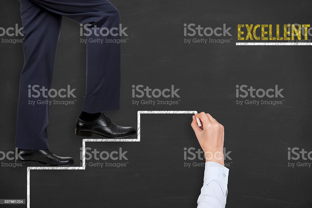 Excellent Stages on Blackboard stock photo