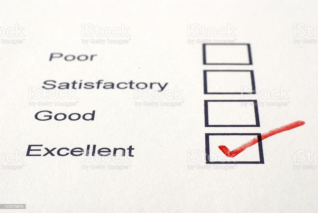 Excellent Survey stock photo