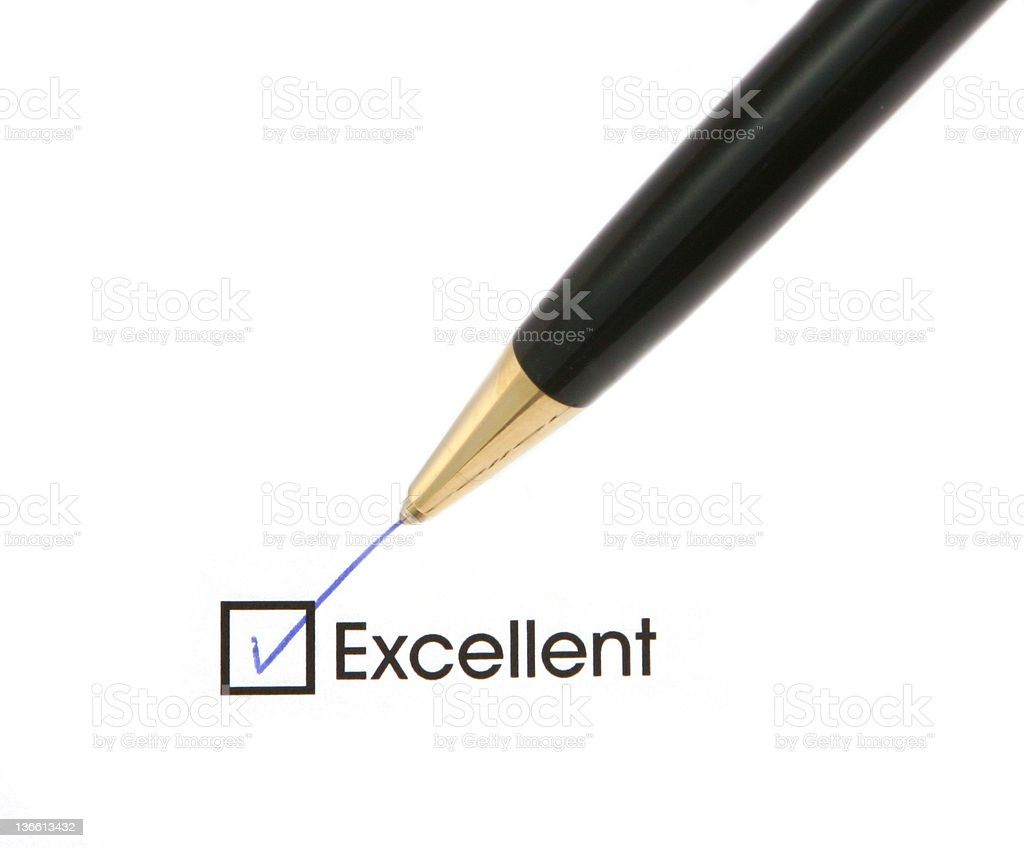 Excellent with checkmark and pen royalty-free stock photo