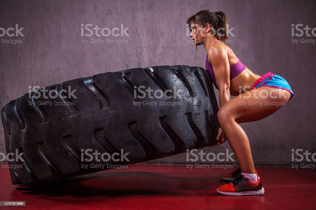 Excersise With Tire stock photo