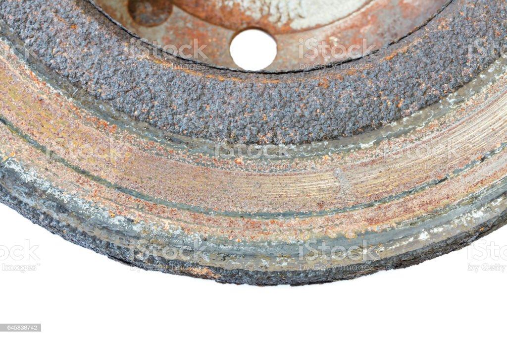 Excessively used rusty brake discs stock photo