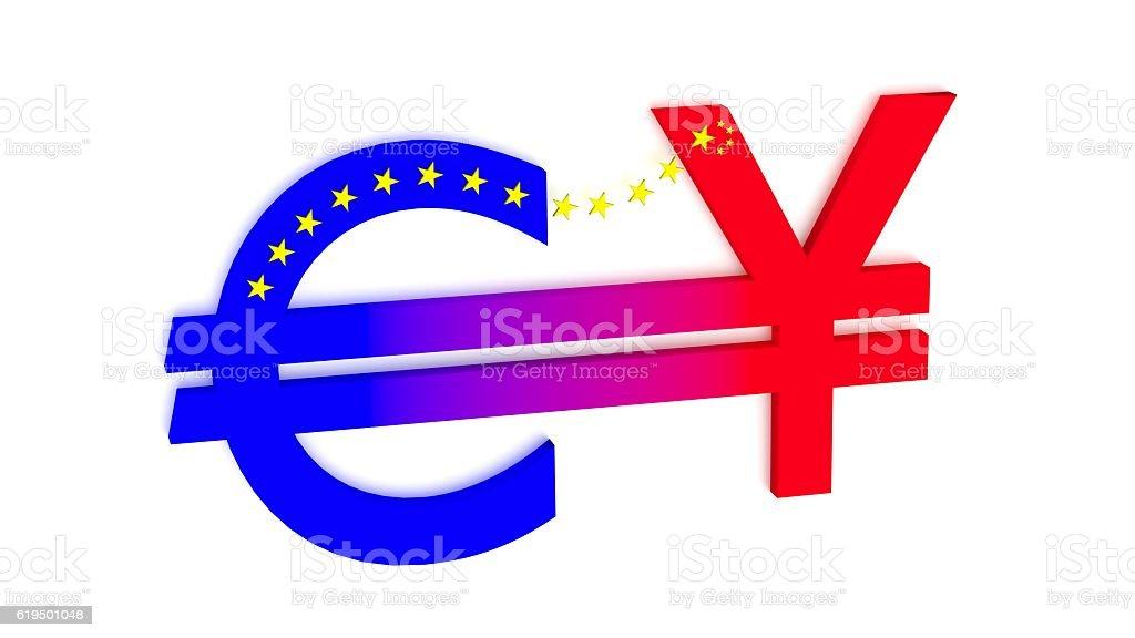 Exchange betwenn euro and chinese rmb stock photo