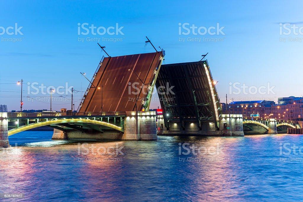 Exchange bridge in St. Peterbugre . White Nights. Diluted bridges stock photo
