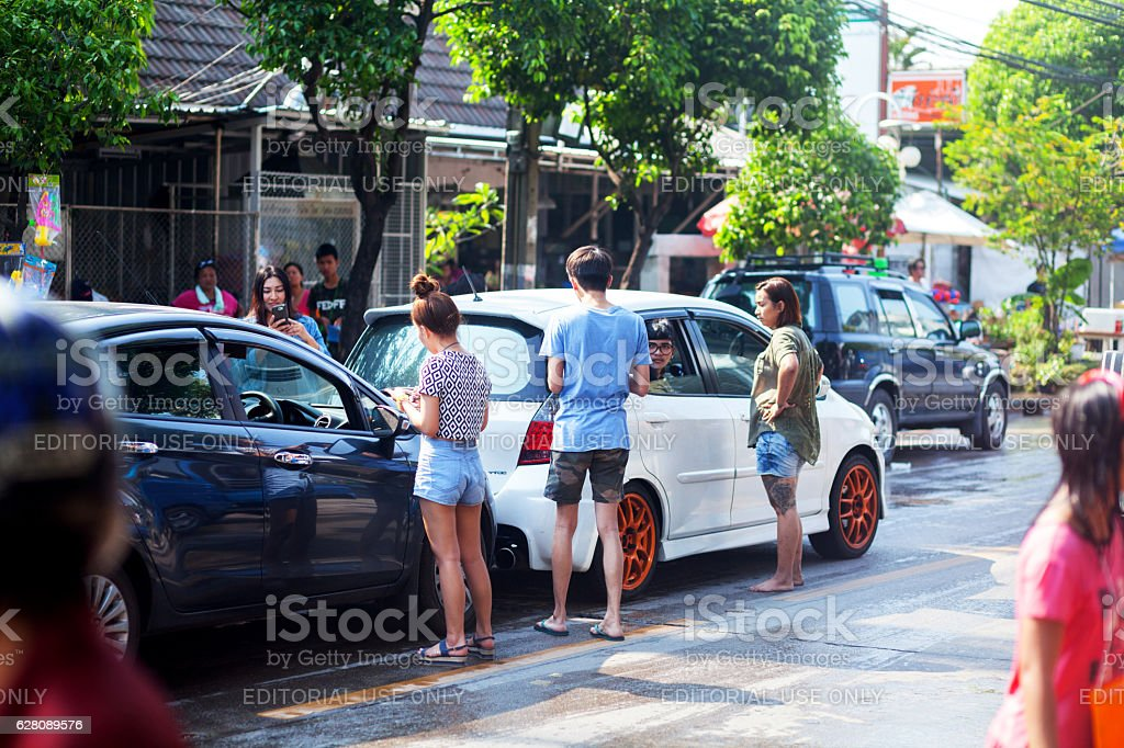 Exchange data at accident on Songkran day stock photo