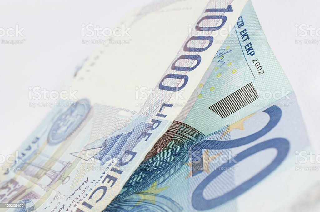 exchange euro and lira banknote stock photo