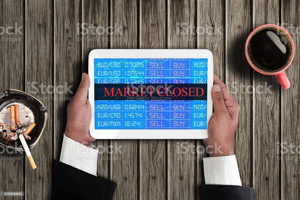 Exchange market closed stock photo